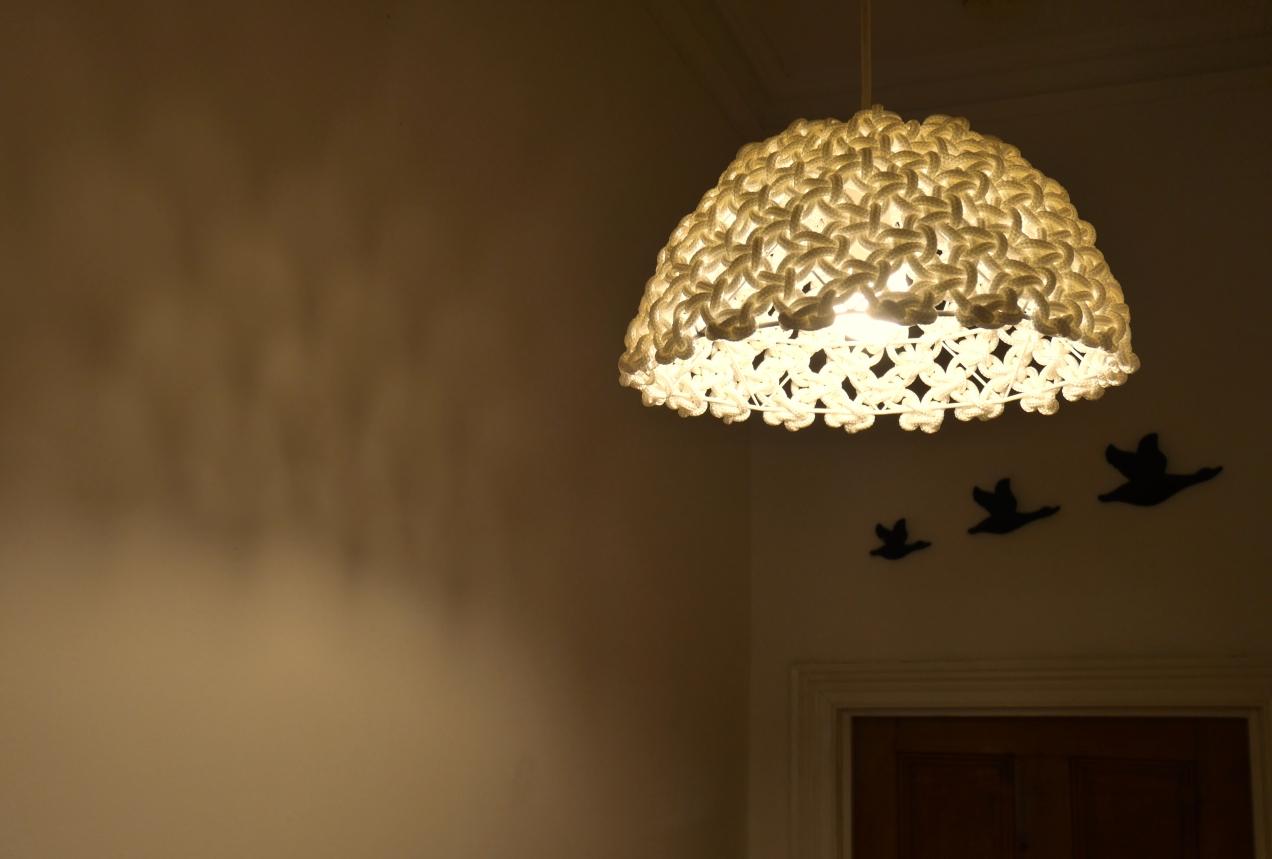 macrame knotted light pendant fibre art Adelaide Australia